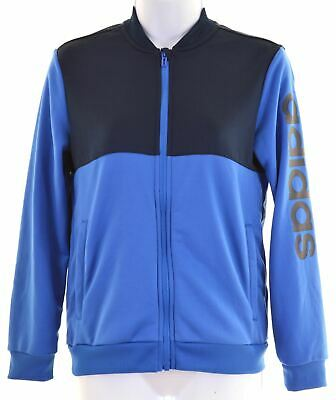 ADIDAS Girls Tracksuit Top Jacket 11-12 Years Blue Polyester  Z208