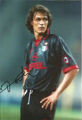 Paolo Maldini AC Milan Signed 12 x 8 inch authentic football photograph SS841