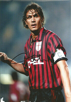 Paolo Maldini AC Milan Signed 12 x 8 inch authentic football photograph SS841B