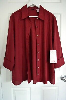 Chic Classic Collection Shirt Top Blouse Cotton Blend Dark Red Plus Size 1X