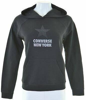 CONVERSE Womens Hoodie Jumper Size 10 Small Black Cotton Loose Fit  GN09