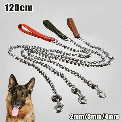 Extra Strong Dog Walking Training Chain Lead Pet Leash Heavy Duty Padded Handle