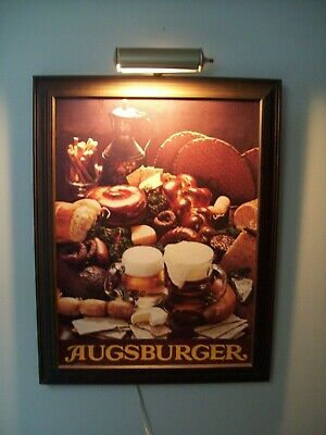 AUGSBURGER Beer Sign With Top Light ~ Bavarian Style Beer Picture Sign.
