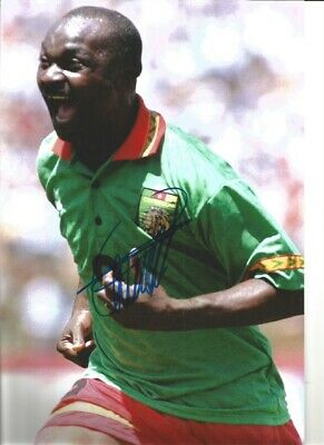 Roger Milla Cameroon Signed 10 x 8 inch authentic football photograph SS876C