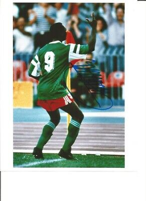 Roger Milla Cameroon Signed 10 x 8 inch authentic football photograph SS876I