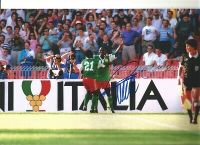 Roger Milla Cameroon Signed 10 x 8 inch authentic football photograph SS876L