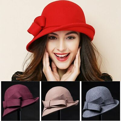 Ladies Winter Felt Hat Wool Outdoor Cap Warm Casual Fedora Beanie Cloche Beret