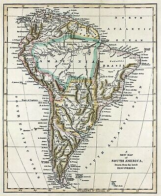 Map of South America 1794 by Robert Wilkinson original engraved hand colour
