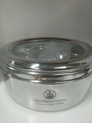 The Three Sisters Stainless Steel Masala Dabba Spice Box Damaged (Lid has crack)