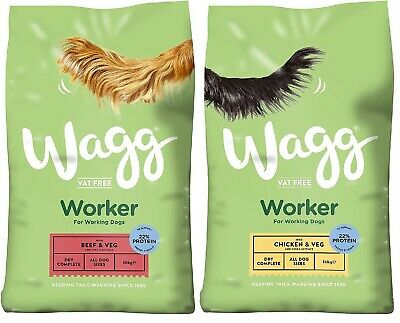Wagg Worker Dog Food Beef and Veg or Chicken and Veg Dry Dog Food 16kg