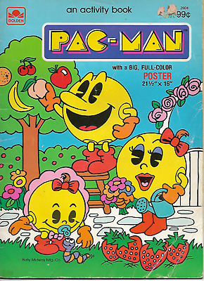 PAC-MAN 1983 ACTITIVITY BOOK COLORING BALLY MIDWAY MfG CO. A GOLDEN BOOK VINTAGE