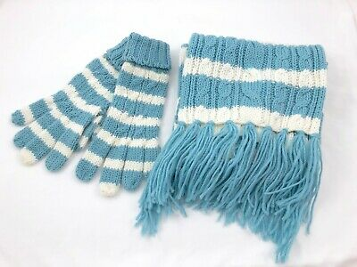 Gap 2 Piece Scarf Gloves Matching Set Cable Knit Sparkle Sequin Blue White Warm