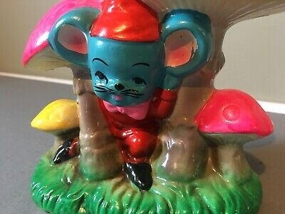 Vintage JAPAN Mushroom Mouse Bank Chalkware Psychedelic Pink Colors Mid Century