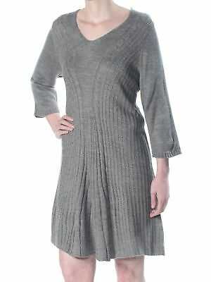 NY COLLECTION $60 Womens New 1717 Gray Textured Knit Fit+Flare Dress XS Petites