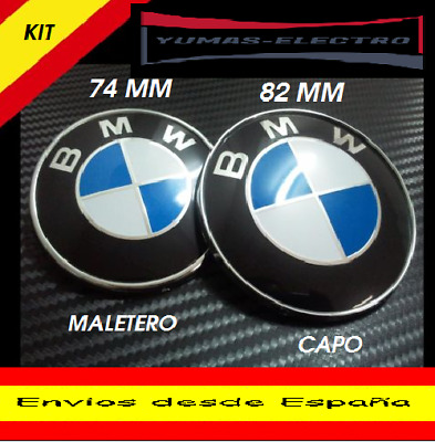 PACK LOGO EMBLEMA INSIGNIA BMW 82mm- 74mm  CON 2  PINES PARA CAPO Y MALETERO