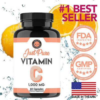 Just Pure Vitamin C 1,000MG Support Healthy Immune System, Antioxidant, 1 Pack