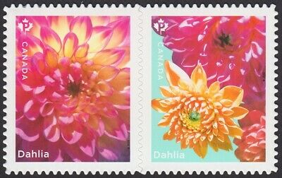 DIE CUT QP = DAHLIA = PAIR FROM BOOKLET = TYPE-1 = MNH Canada 2020