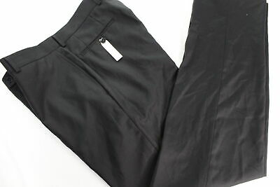 NWOT Calvin Klein Slim Fit Black Flat Front 100% Wool Men's Pants 33x32 MA0