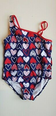 OP girls 4 years NAVY BLUE & white RED HEARTS one piece swimming costume