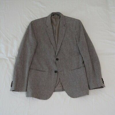 Banana Republic Men's 40R Gray Tailored Slim Fit Linen Blend Sport Coat Jacket