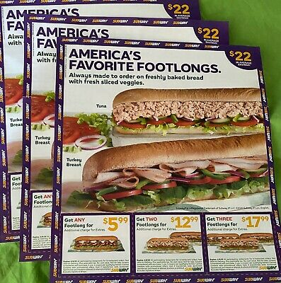 4 Sheets Subway Food, Footlong, Combo, Sub Sandwich Coupons Exp. 4/8/21