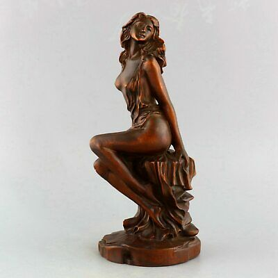 Collect China Antique Boxwood Hand-Carved Naked Beauty Delicate Decorate Statue