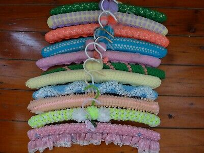 11X Vintage Lace & Knitted Pom Pom Crochet  Clothes Hangers