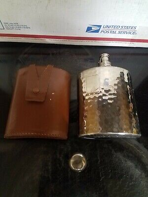 Vintage AHS Hammered Hip Flask w/ Cover & Shot Glass Cap; 8oz Tin-Lined; Germany