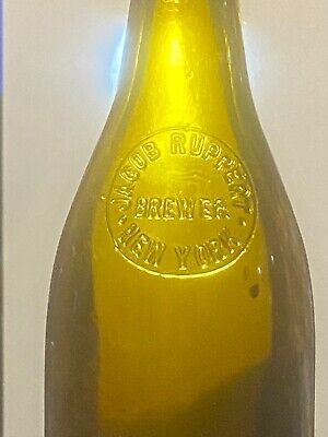 Antique Yellow Amber Rupert Crown Top Beer Bottle 1880's