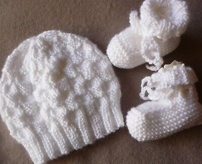 Beanie & Booties Hand-Knitted By Myself. Cute & Soft. White. Boy Or Girl Baby