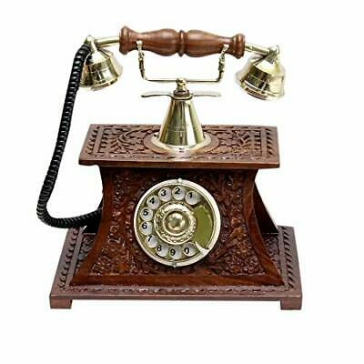 Wooden Handmade Carved Antique Replica Telephone Maharaja Style  Decorative Gift