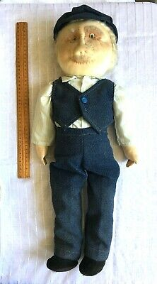 Large Vintage STUFFED DOLL - OLD MAN (DUTCH?) WITH CAP & WAISTCOAT - 60cm High