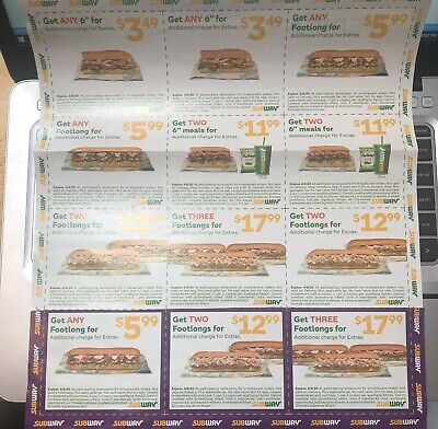 12 SUBWAY Coupons Footlong Six Inch Meals