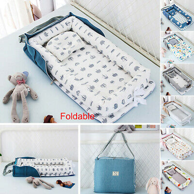 Foldable Crib Baby Bed+Pillow Newborn Cradle Cot Portable Sleeping Nest Nursery