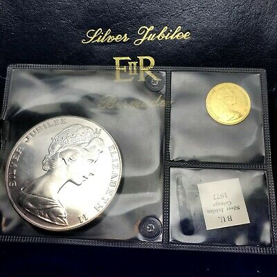 Bermuda 1977 Queen Silver Jubilee Gold & Silver 2pc BU. Proof Set with Box PS4.