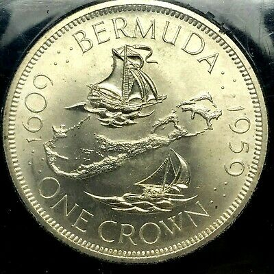 1959~Km13~ Bermuda Silver Crown. Beautiful Uncirculated Coin For Your Collection