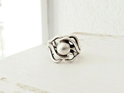 Vintage Abstract Sterling Silver Ball Artisan Mid Century Modernist Size 7 Ring