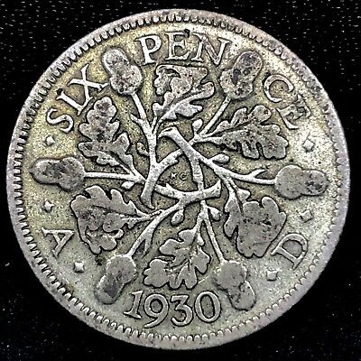 Great Britain ~ 1930~ 6 Pence~ Silver~George V~ Km#832~ Avarage Circulated Coin.