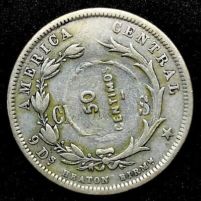 Costa Rica: 50 Centimos 1893 Counter-Stamped On 25 Centavos Silver Km159 #5