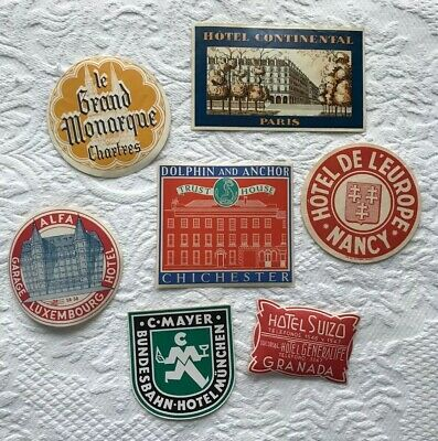VINTAGE Decoupage Travel Sticker Luggage Euro Hotels LOT of SEVEN (7) * EUC!