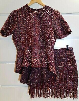 ZARA Boucle Tweed Frayed Fringe Coord Set BNWT Top S Skirt XS Pink Plum