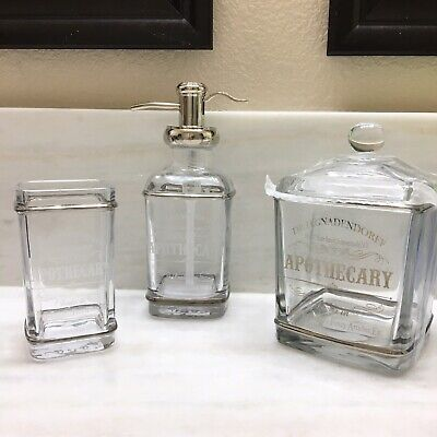 4pc BELLA LUX Bath Set Glass Dr Apothecary NY Jar Soap Dish Dispenser Toothbrush