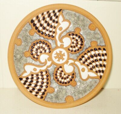 Vintage  Greek Bonis Pottery Talavera Plate  Signed  Design Nr