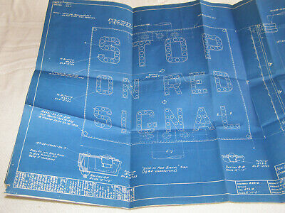 "Vint. Delaware,Lackawanna+Western Railroad ""Stop On Red"" Signs-2 Blueprints-1933"