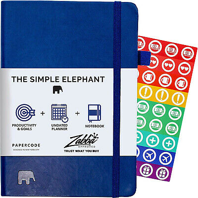Simple Elephant Planner 2020 - Daily, Weekly, Monthly Agenda - Blue (Undated)
