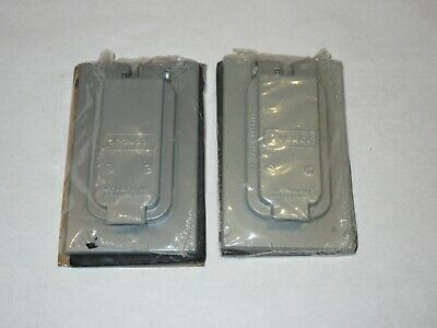 Lot of Two Steel City Red Dot Outdoor Duplex Outlet Cover Vertical Mount NIB
