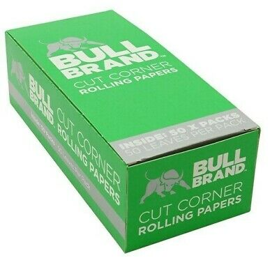 BULL BRAND Green Cut Corner Rolling Papers Smoking Cigarette Tobacco Pack of 50