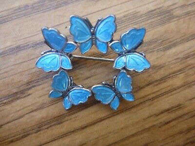 Vintage Meka Light Blue Enamel 5 Butterfly Sterling  Brooch Pin Denmark