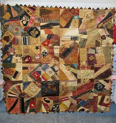 rare antique 1886 handmade embroidered 55 inches American Crazy Quilt blanket