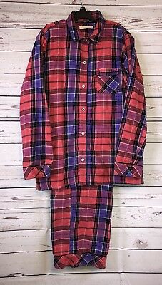 Victoria's Secret Pajama Set Lightweight PJ's Plaid Cotton Purple Red Metallic S